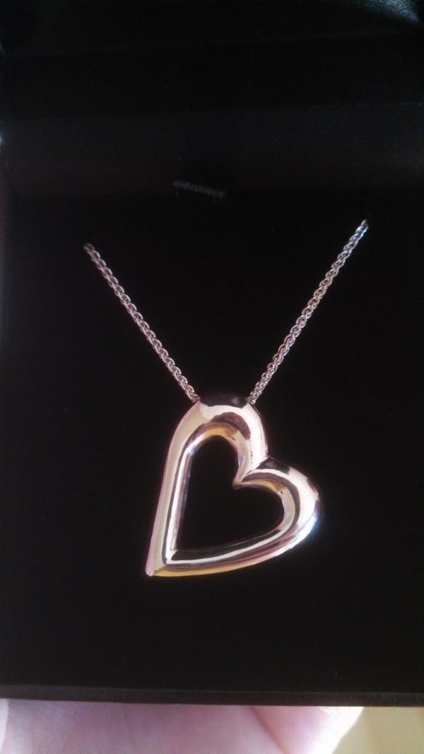 Carved, Casted and Plated Heart Shaped Necklace