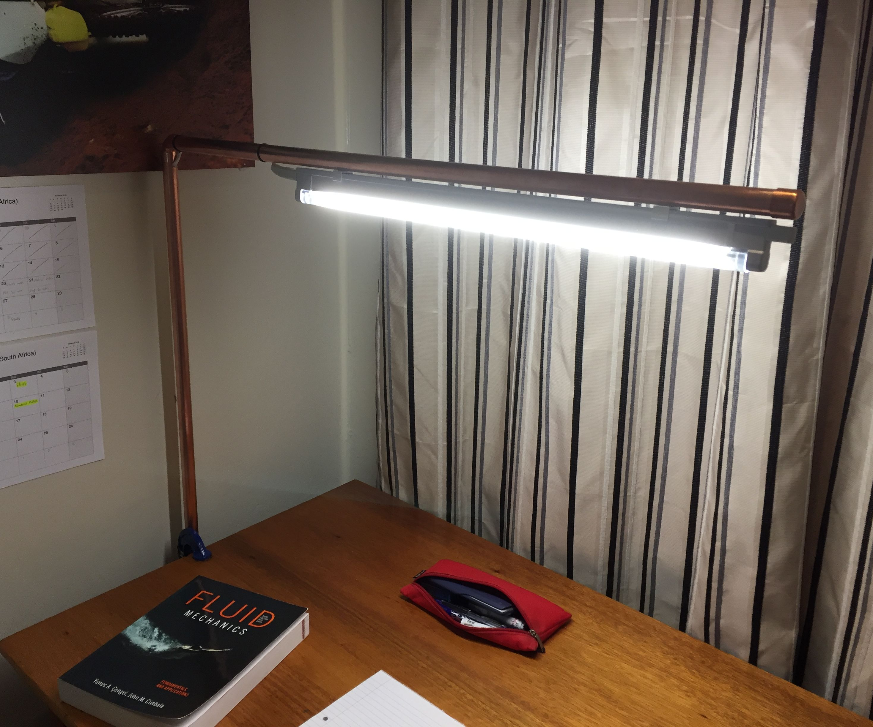 DIY Copper Overhead Desk Lamp