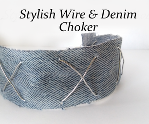 Stylish Woven Wire and Denim Choker