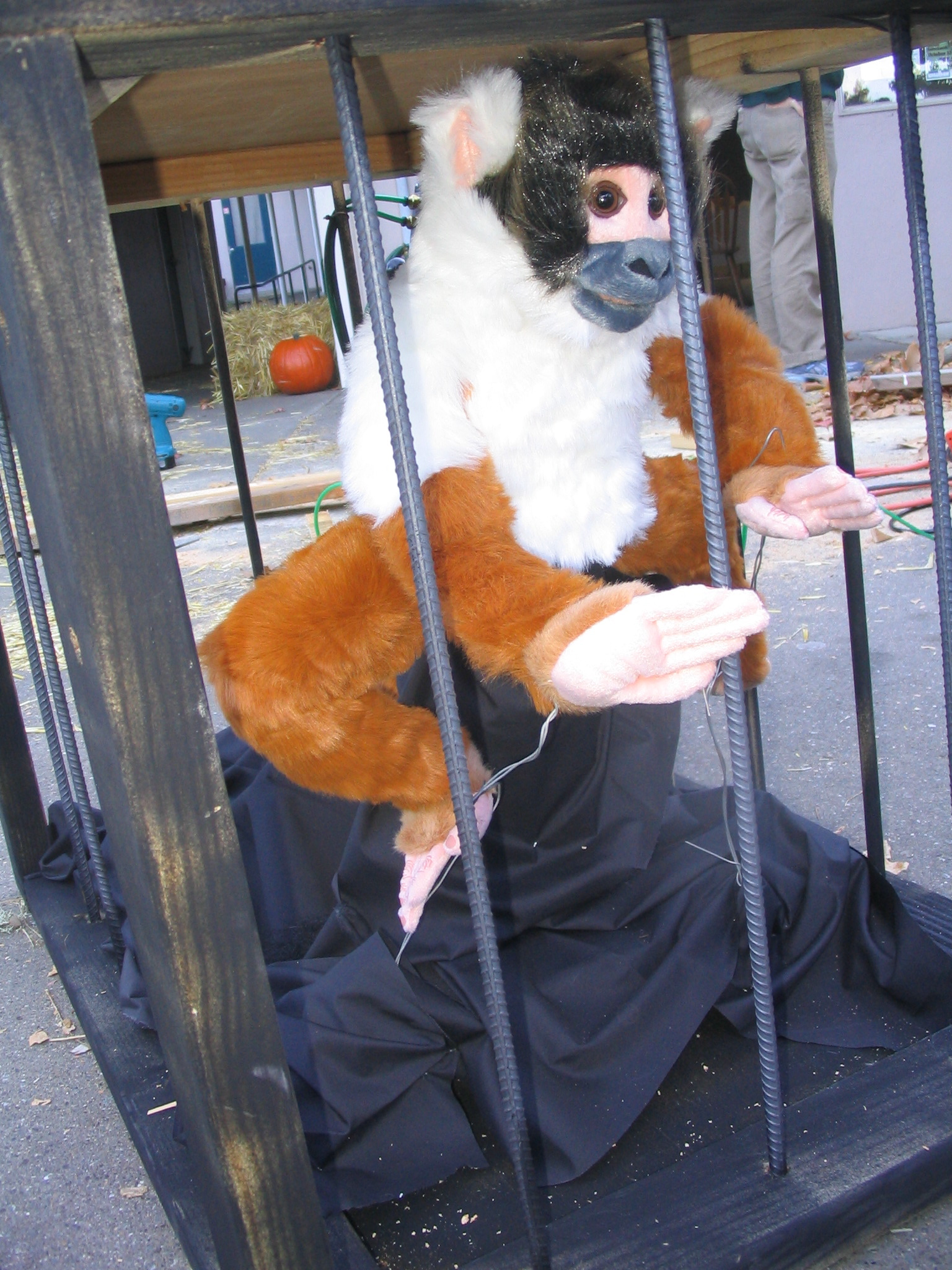 Build a Pneumatically Actuated Yeti in a Cage for a Halloween Haunted House