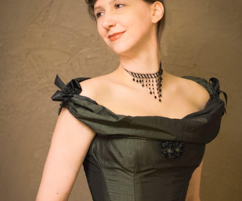 Victorian Ball Gown Eith an Autonomic Adjustable Neckline