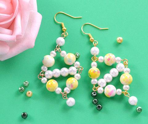 Beebeecraft Tutorials on Making Yellow Pearl Earrings