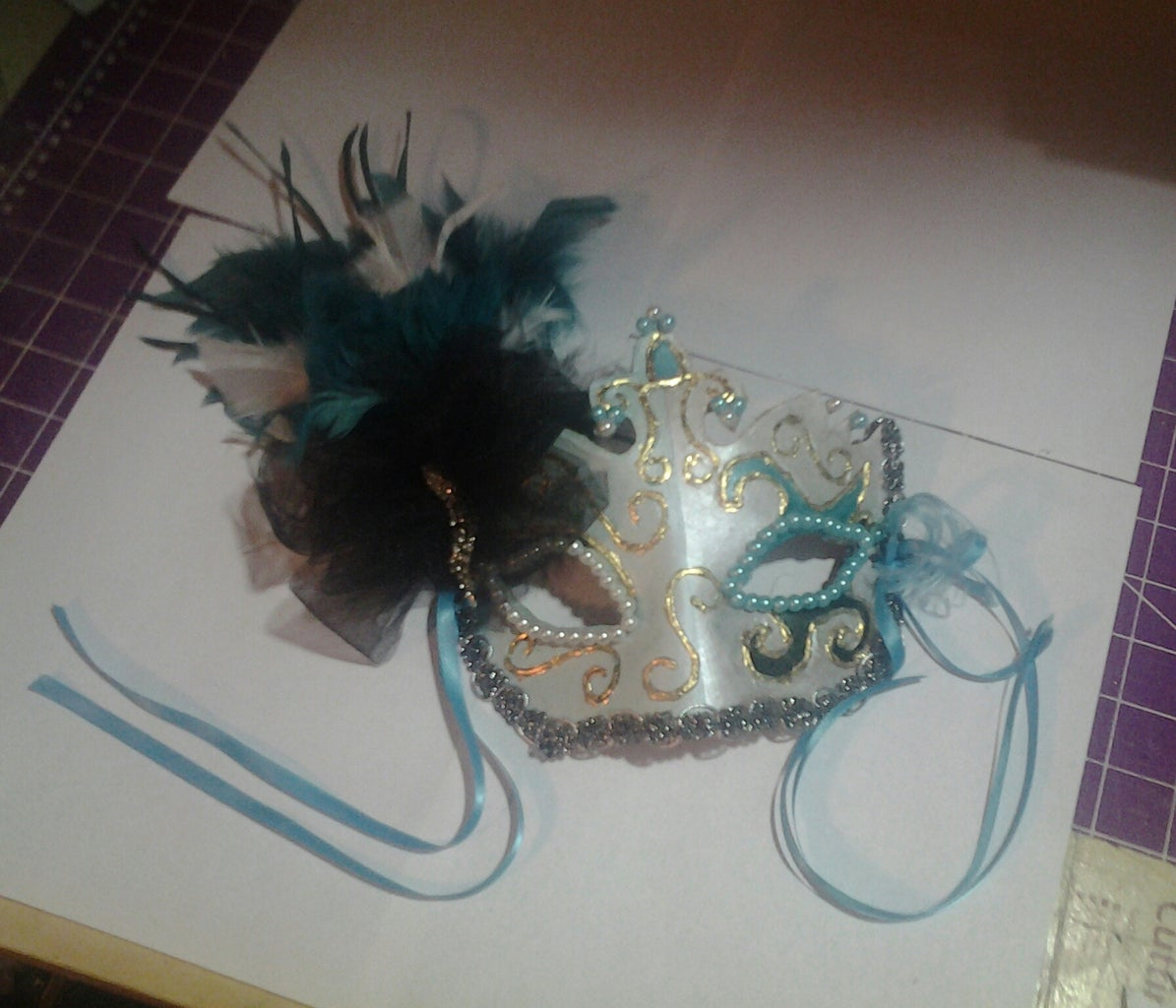 Finished Terrific in Teal Masquerade Mask!