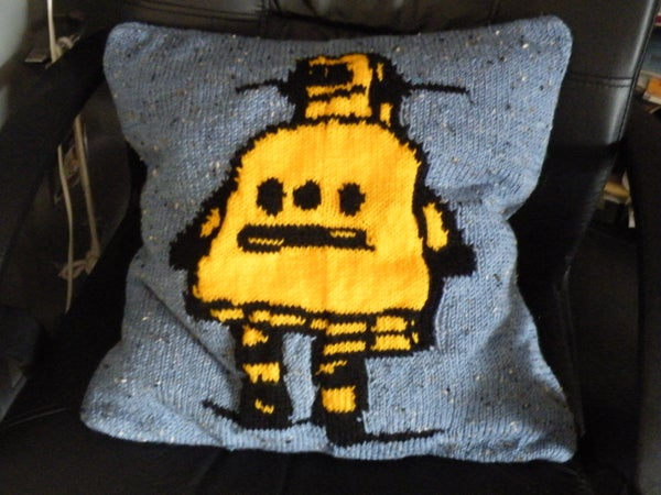 Knitted Robot Cushion