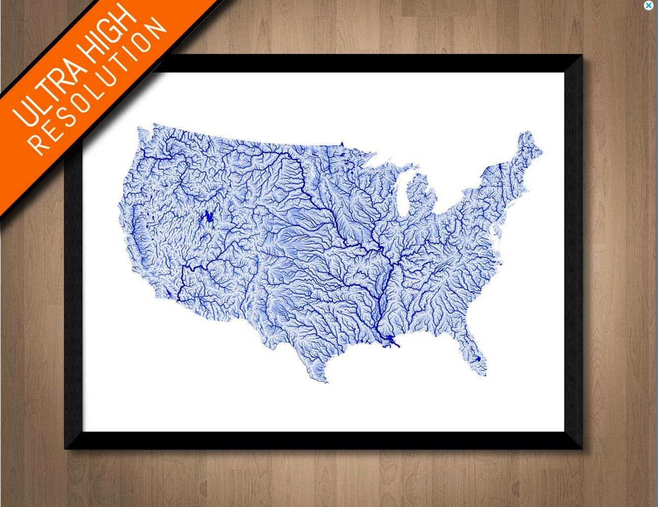 Illuminated Waterways of the United States Map