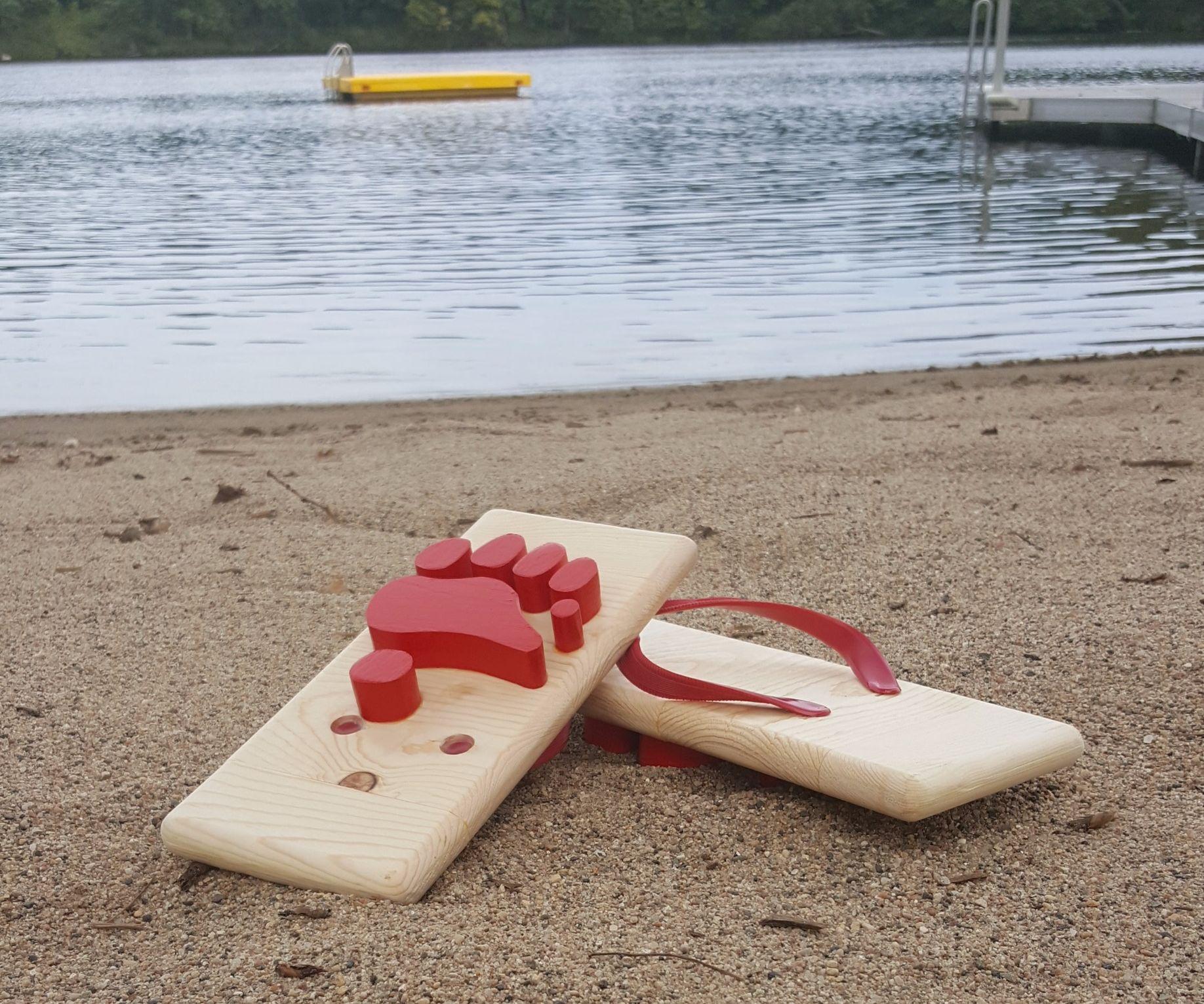 Wooden Bear Paw Flip Flops