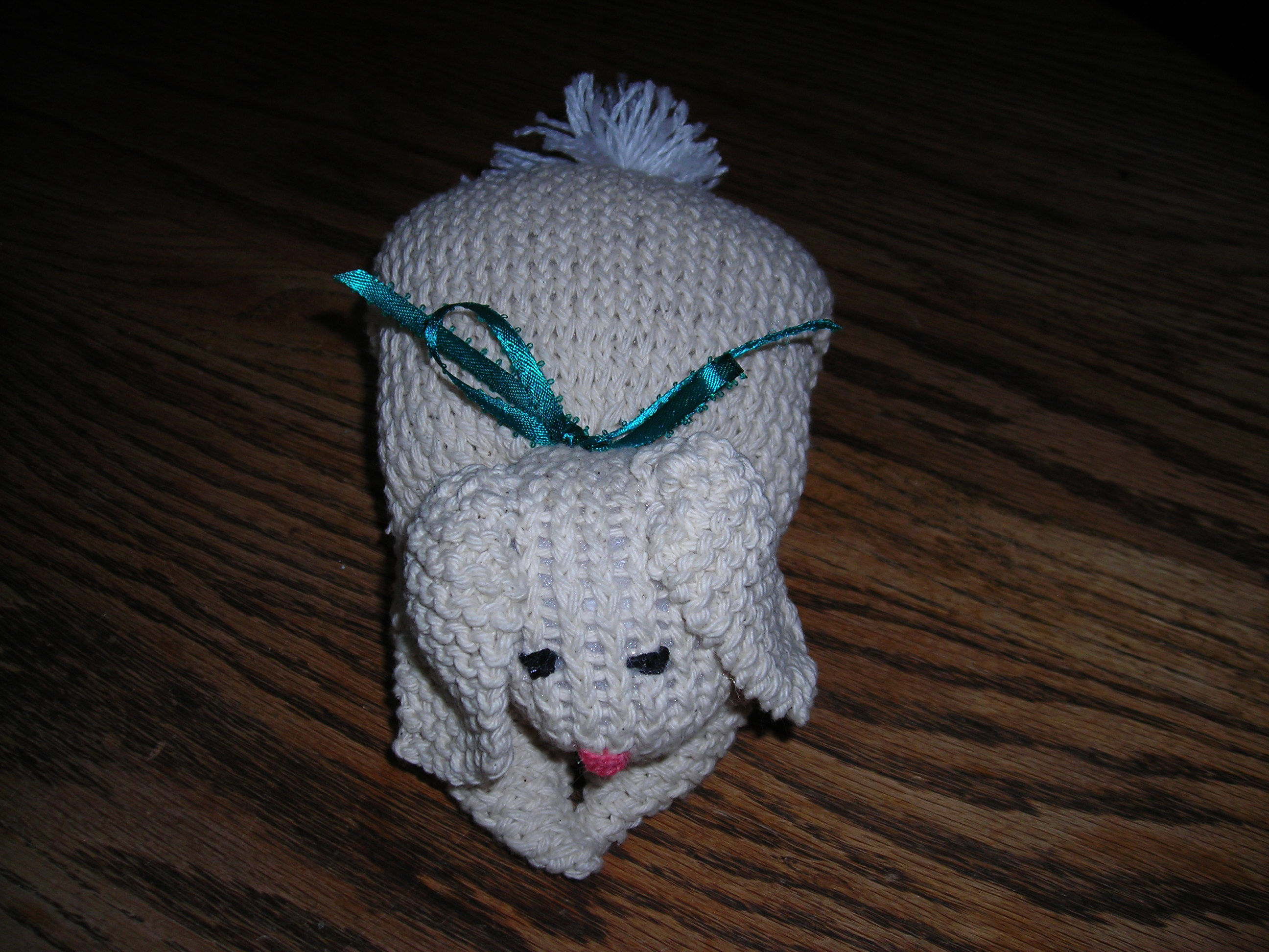 Cute Knitted Bunny from a Square Plus Ears