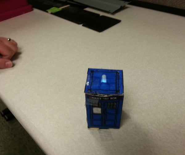 Spinning Tardis With Blinking LED (Powered by LittleBits)