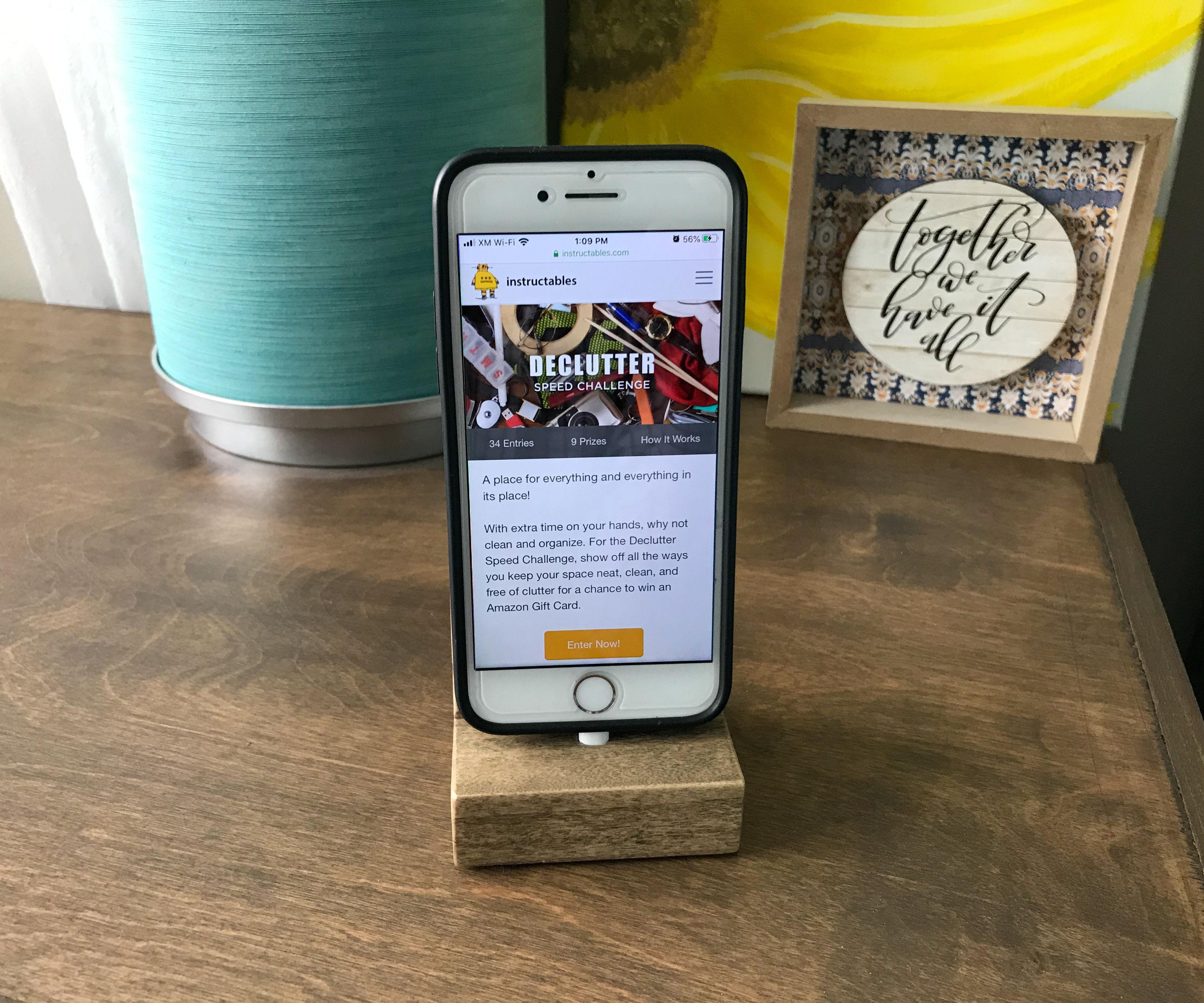 DIY Solid Wood IPhone Charging Dock