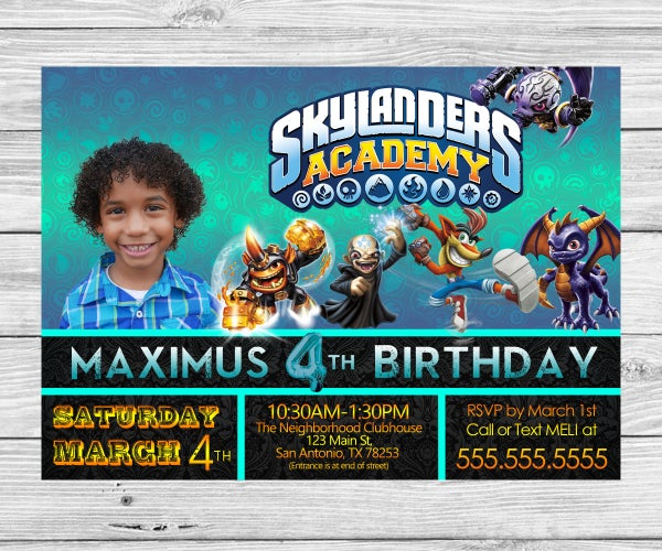 Skylanders Birthday Invitation With Envelope Template - Photoshop PSD File (everything Can Be Edited)