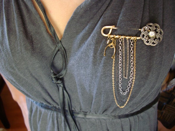 Vintage Inspired Safety Pin Brooch