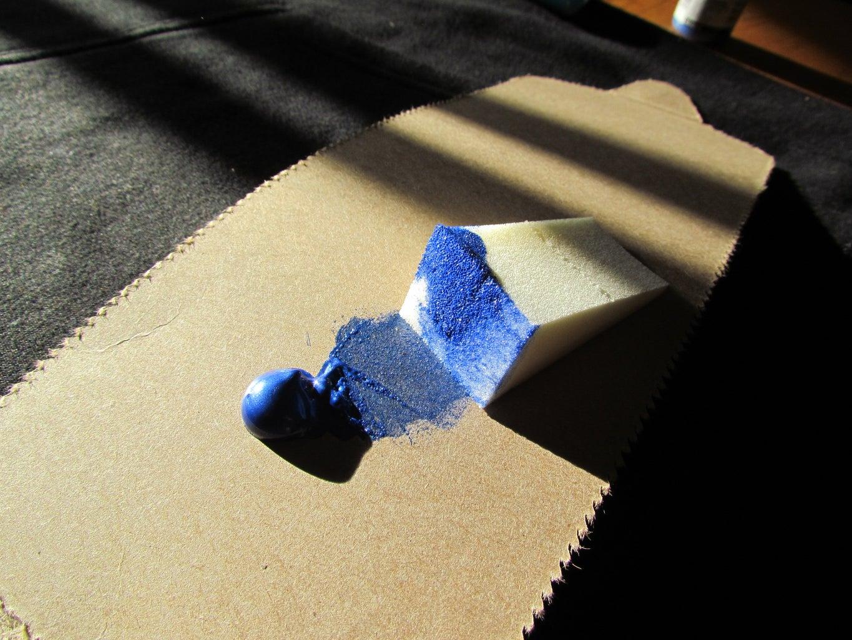Let's Start Sponge Painting the Base, BLUE!