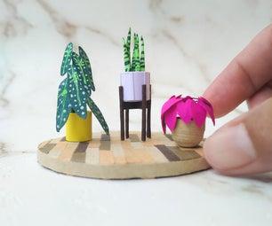 从纸张的室内植物微型