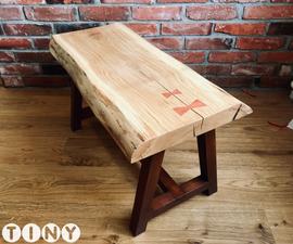 Live Edge Slab Coffee Table With Bow Ties