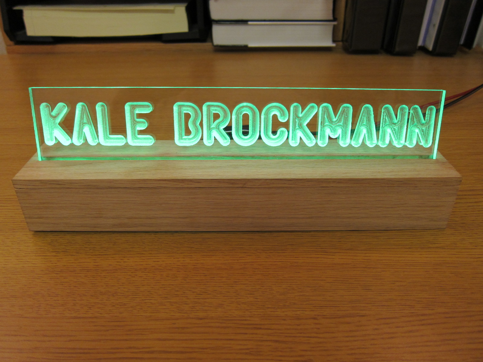 Awesome LED Edge-lit Desktop Nameplate