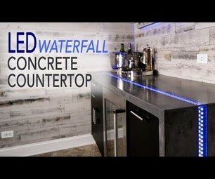Waterfall Countertop W/ LED River Inlay (from Concrete)