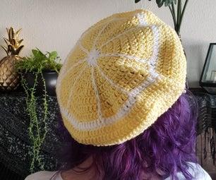 钩针柠檬贝雷帽
