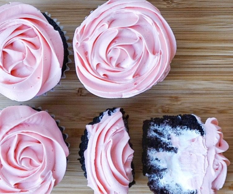 Marshmallow Stuffed Cupcakes with Rosette Buttercream