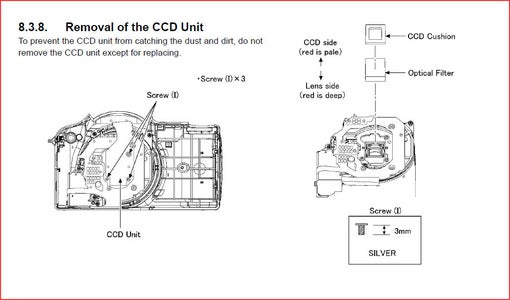 Removing the CCD Unit and Hot Filter
