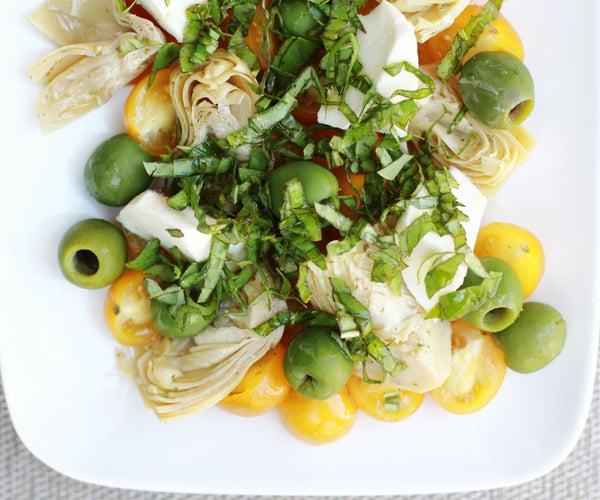 Golden Tomato, Green Olive, Artichoke, and Mozzarella Salad