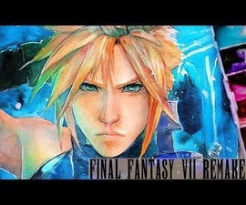 FINAL FANTASY VII REMAKE - CLOUD STRIFE WATERCOLOR PAINTING