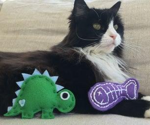 2 Felt Cat Toys (Fish and Dinosaur)