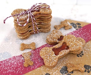 Peanut Butter and Jelly Linzer Cookies for Dogs