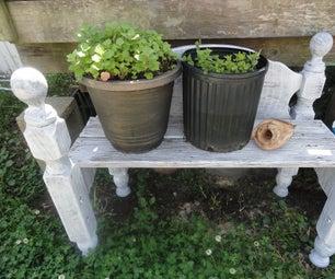 Rustic Garden/Planter Bench From Headboards