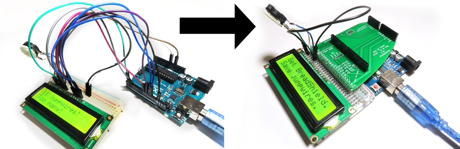 Arduino and Character LCD Hookup in BreadShield