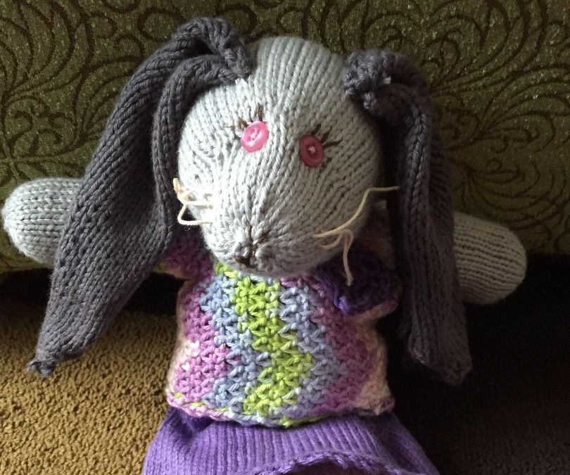 """""""Mabel"""" a knitted soft bunny for little hands (or big hands)"""