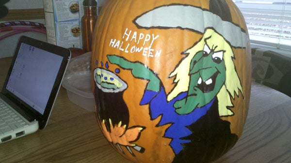 Painted Witch Pumpkin