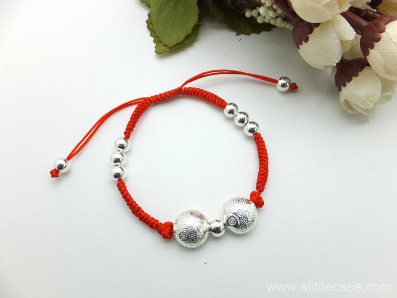 Handcraft Sterling silver kissing fish braided bracelet & braided anklet