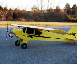8 Ft Wingspan Coroplast RC Piper Cub Flown by 25cc Weed Trimmer