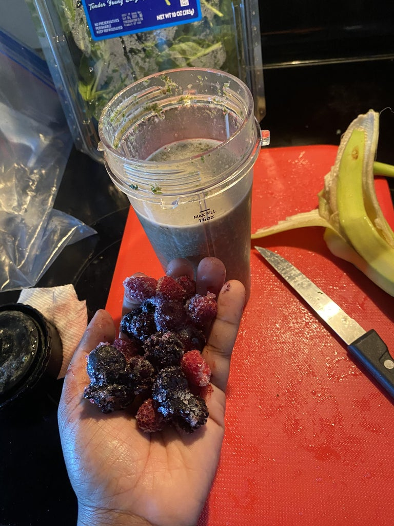 Step Seven: Mix the Frozen Fruit to Your Own Preference. Then Add Two Handfuls of the Frozen Berries.  Blend for 30 Seconds or Until the Mixture Is Smooth and the Color Turns Purple