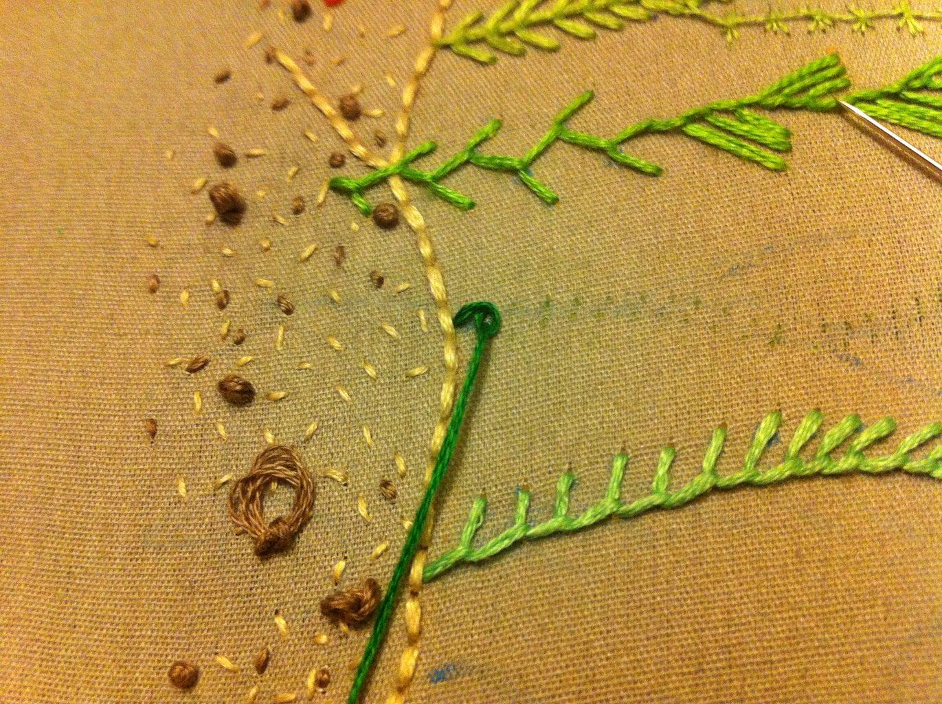 Scroll Stitch, Coral Stitch