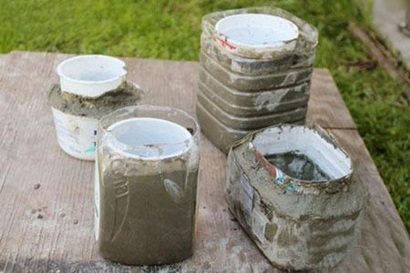 Put the Mixed Concrete in the Large Containers