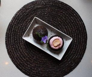 美味的巧克力和蛋白软糖松饼