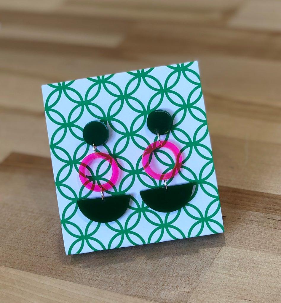 Laser-Cut Acrylic Geometric Drop Earrings