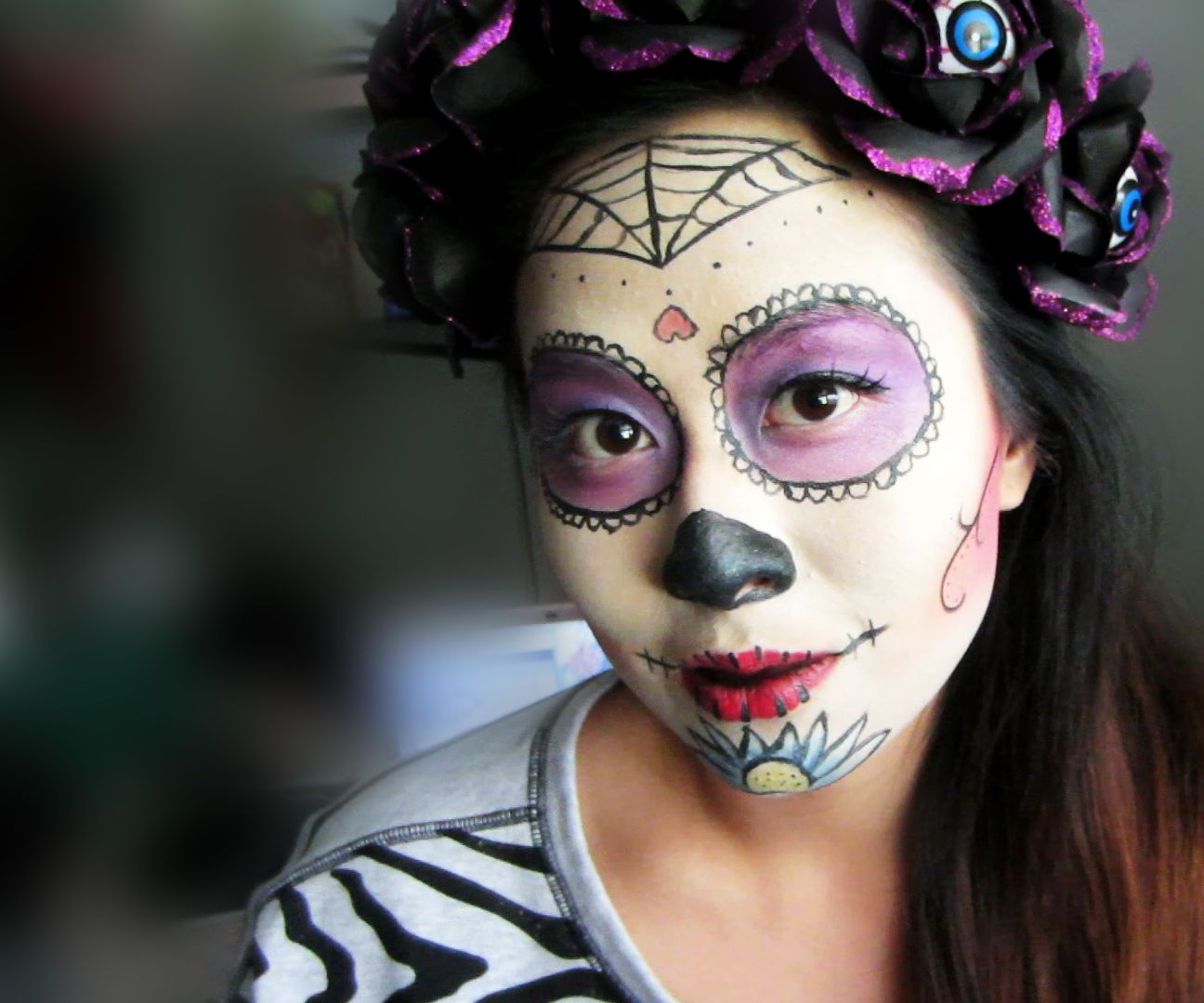 Sugar Skull Headband and Makeup