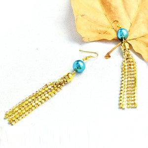 Beebeecraft Tutorial on Making Tassel Rhinestone Chain Earrings With Glass Pearl Beads
