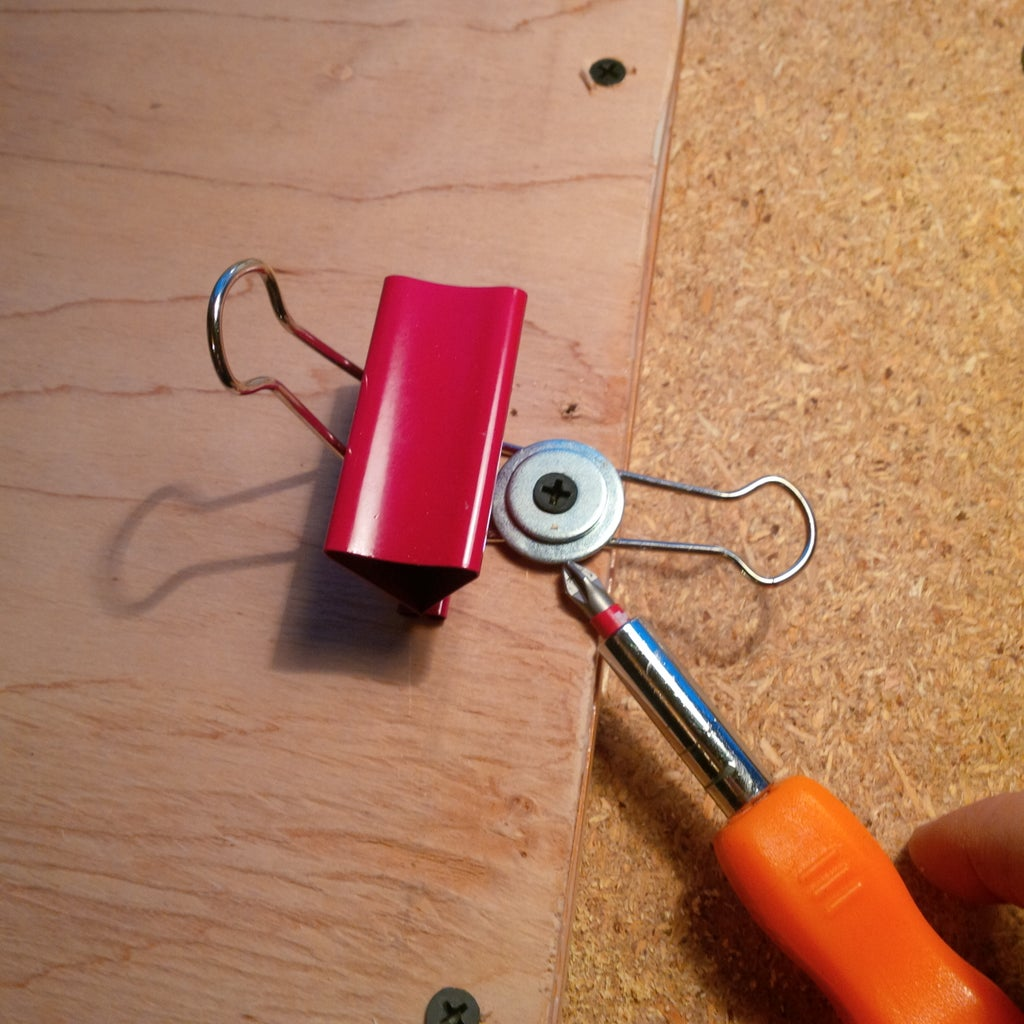 Screw and Washers to Hold the Big Paper Clip in Place