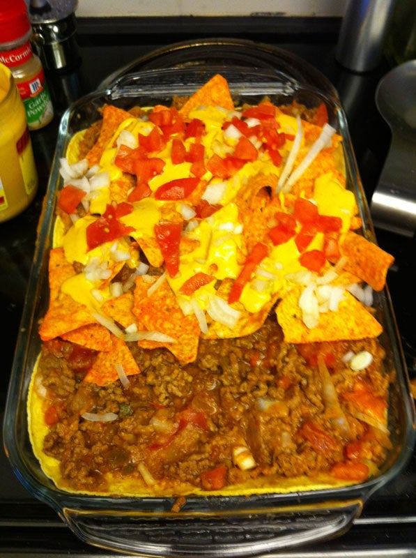 Ultimate Taco Lasagna Delicious Yet Bit Healthy :) Perfect Ratio of Dip and Tortilla Chips for Ever Bite!