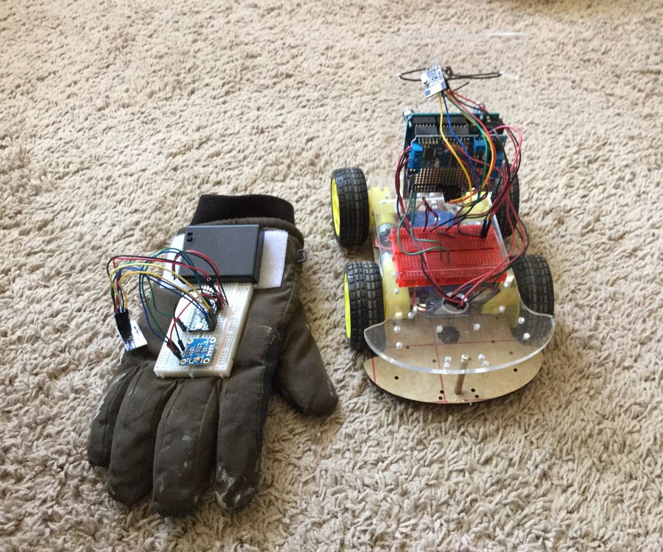 RC Car Controlled by Old Glove