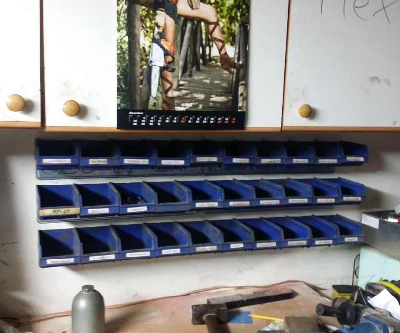 Mounting for Stackable Storage Bins Made From Old License Plates