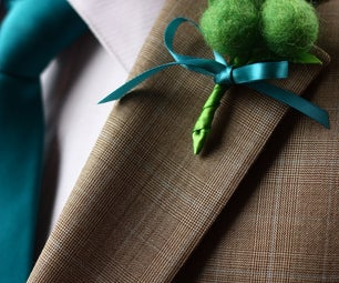 Wool Felted Ball Boutonniere