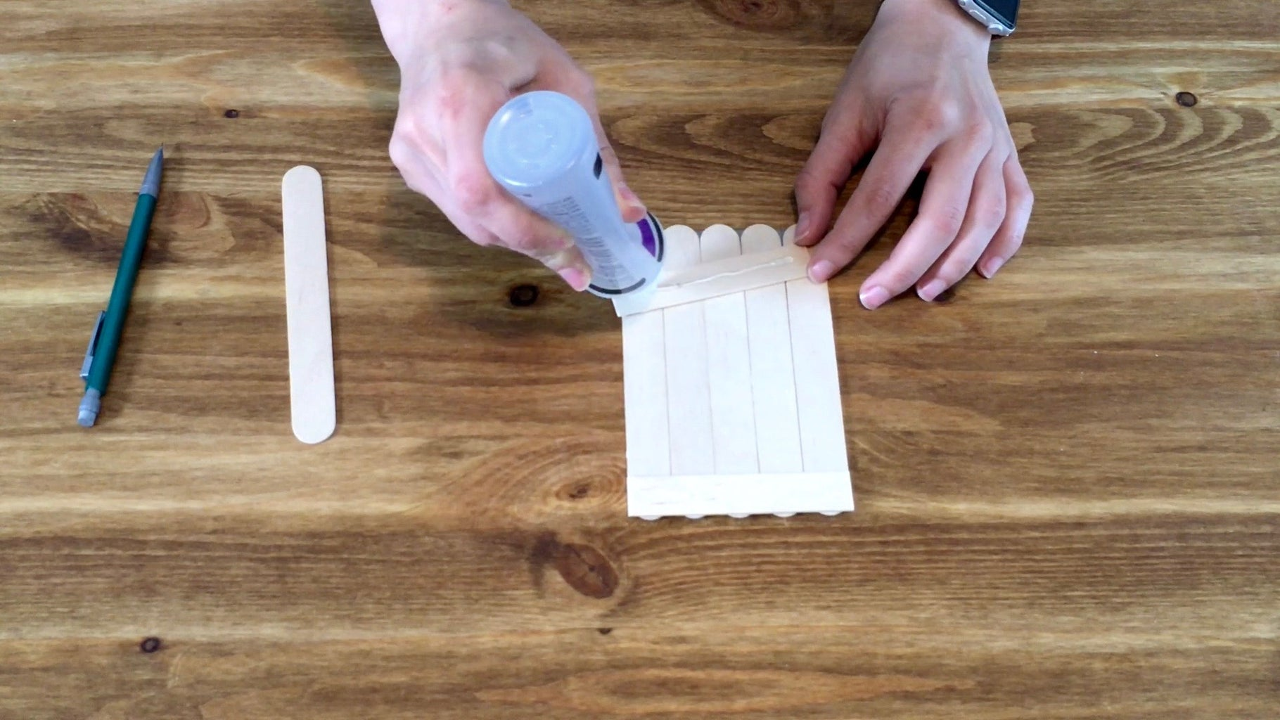 Measure, Cut & Glue Sticks to Cover Bottom and Top