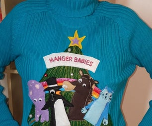 Ugly Christmas Sweater, Featuring Manger Babies
