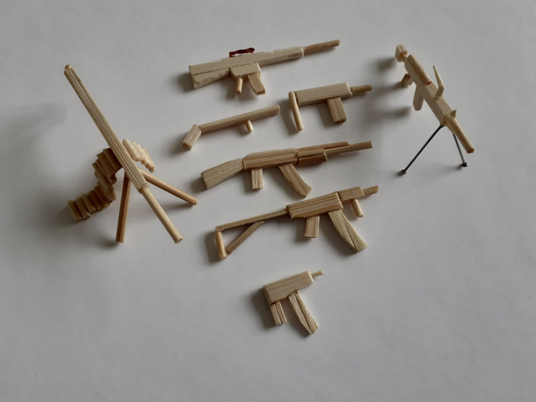 Small Wooden Guns (using Ample Adhesive)