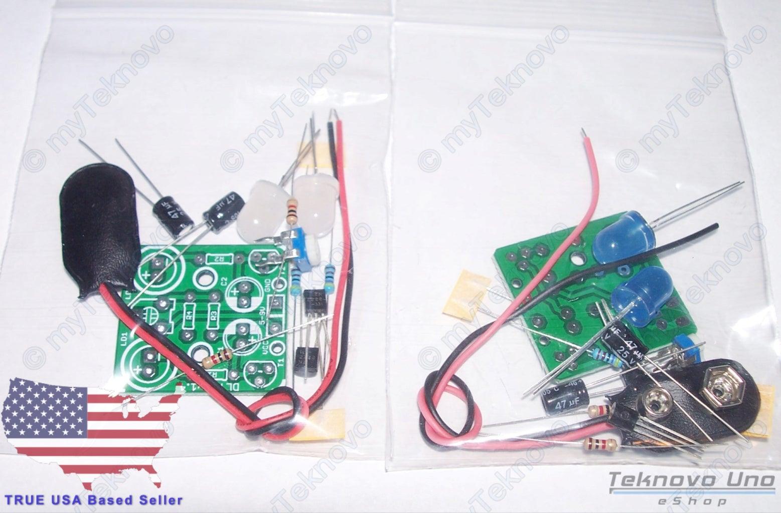 Dual JUMBO LED White/Blue Adjustable Flasher Blinker