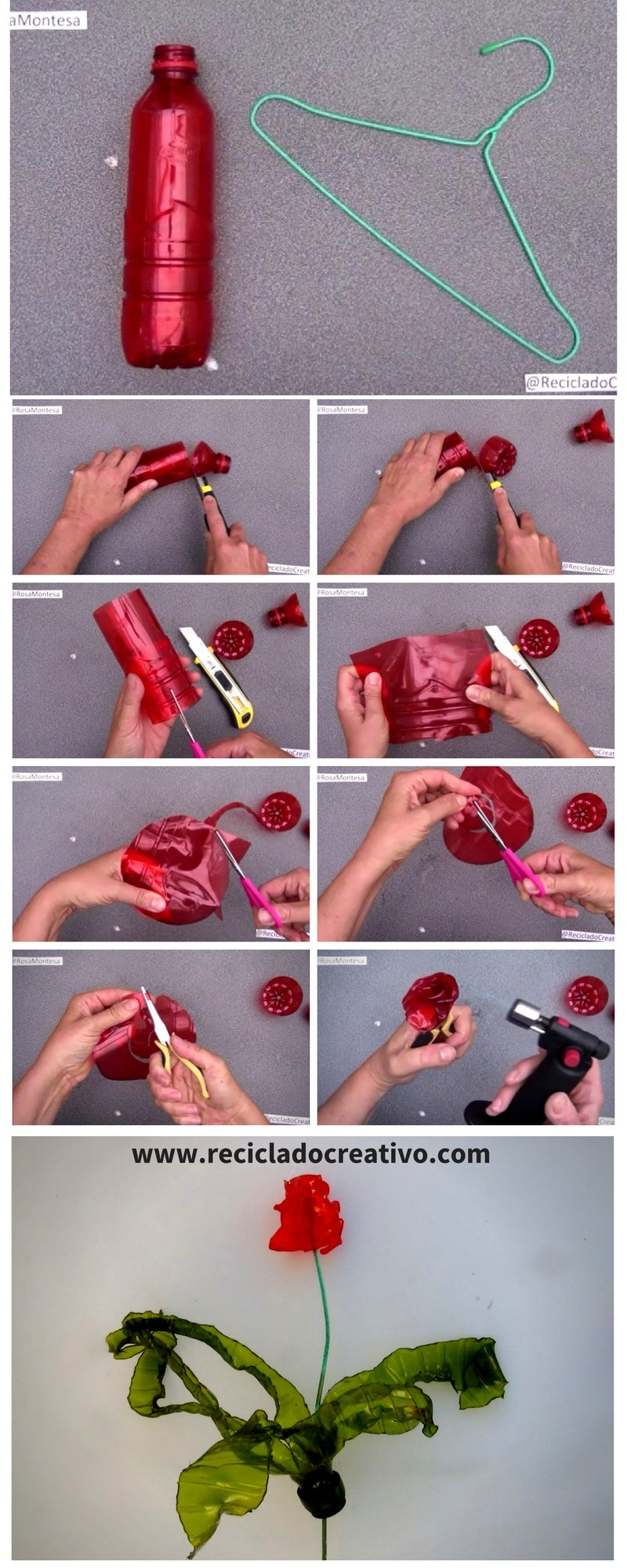 Step by Step. Before and After. How to Make a Flower - Red Rose